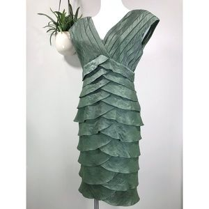 Adrianna Papell 10 Tiered Shutter Pleated Dress